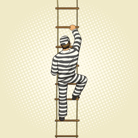 rope ladder: Prisoner crawling on a rope ladder pop art style vector illustration. Human illustration. Comic book style imitation. Vintage retro style. Conceptual illustration Illustration