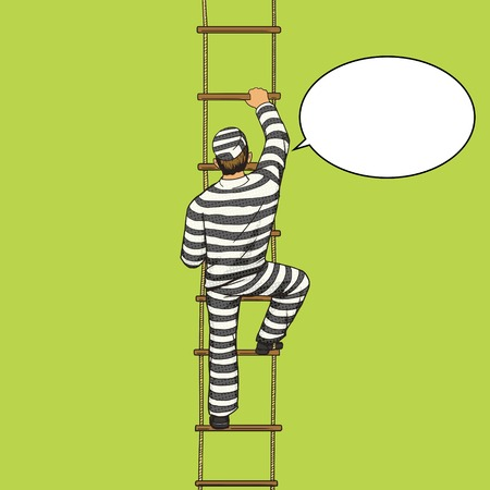 detainee: Prisoner crawling on a rope ladder pop art style vector illustration. Human illustration. Comic book style imitation. Vintage retro style. Conceptual illustration Illustration