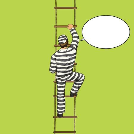 detainee: Prisoner crawling on a rope ladder pop art style vector illustration. Human illustration. Comic book style imitation. Vintage retro style. Conceptual illustration Illustration
