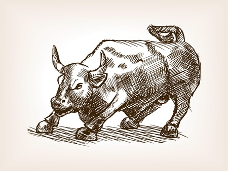 Bull statue sketch style vector illustration. Old engraving imitation. Bull statue landmark hand drawn sketch imitation Иллюстрация