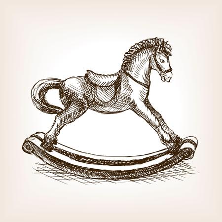 ilustración del vector del estilo del bosquejo caballo de juguete oscilación de la vendimia. Vieja mano dibuja la imitación de grabado. ilustración objeto de la vendimia
