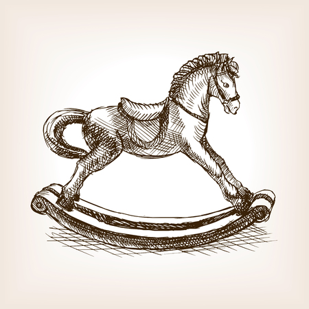 hand with pencil: Vintage rocking horse toy sketch style vector illustration. Old hand drawn engraving imitation. Vintage object illustration