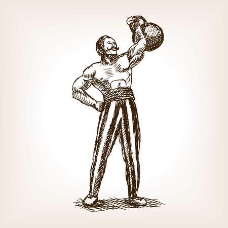 Sterke man met kettlebell schets stijl vector illustratie. Oude hand getekende graveren imitatie. Muscle man en kettlebell op circus