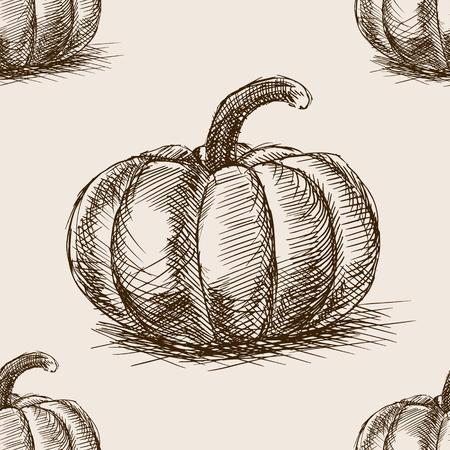ink sketch: Pumpkin sketch style seamless pattern vector illustration. Old engraving imitation. Pumpkin hand drawn sketch imitation