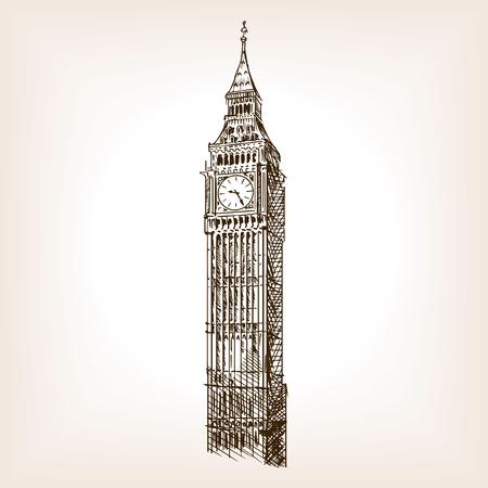 大きなベン塔は、スタイルのベクトル図をスケッチします。古い彫刻の模倣。ビッグ ベン ランドマーク手描きスケッチ模倣  イラスト・ベクター素材
