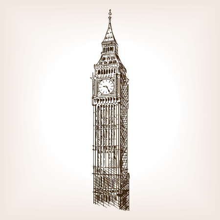 Big Ben tower sketch style vector illustration. Old engraving imitation. Big Ben landmark hand drawn sketch imitation