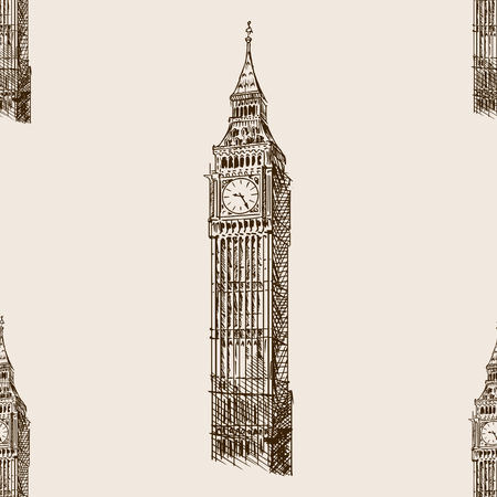 big ben tower: Big Ben tower sketch style seamless pattern vector illustration. Old engraving imitation. Big Ben landmark hand drawn sketch imitation Illustration
