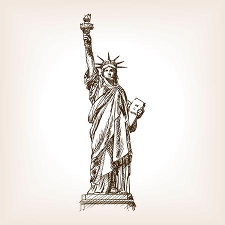 자유의여 신상 스케치 스타일 벡터 일러스트 레이 션. 오래 된 조각 모방입니다. 자유의 랜드 마크 손으로 그린 스케치 모방의 동상 일러스트
