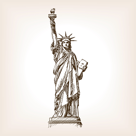 Estatua de la ilustración del vector del estilo del bosquejo de la libertad. Grabado antiguo de imitación. Estatua de la libertad mano hito dibujado imitación boceto Foto de archivo - 55145782