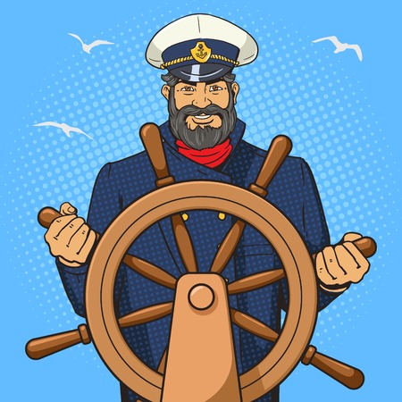 Captain character with ship steering wheel pop art vector illustration. Human character illustration. Comic book style imitation. Vintage retro style. Conceptual illustration