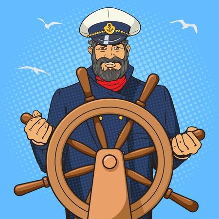 캡틴 문자로 선박 운전대 팝 아트 벡터 일러스트 레이 션. 인간의 문자 그림입니다. 만화 스타일의 모방입니다. 빈티지 복고 스타일입니다. 개념적 그