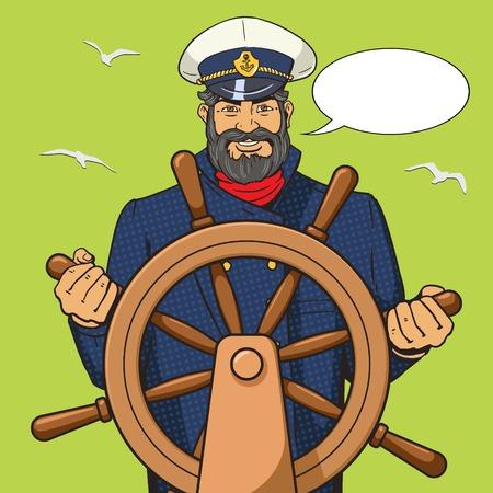 ship steering wheel: Captain character with ship steering wheel pop art vector illustration. Human character illustration. Comic book style imitation. Vintage retro style. Conceptual illustration