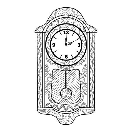 reloj de pendulo: reloj de péndulo para colorear libro para adultos ilustración vectorial. Antiestrés colorear para adultos. estilo de Zentangle. líneas blancas y negras. modelo del cordón