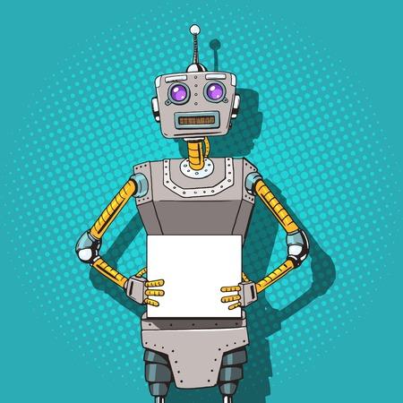 Robot avec des annonces pop style vecteur art illustration. Robot illustration. Comic imitation de style livre. Vintage robot de style rétro. illustration conceptuelle Vecteurs