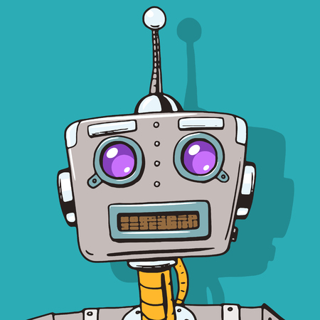 comic book character: Cyborg character face pop art style vector illustration. Robot character illustration. Comic book style imitation. Vintage retro style robot. Conceptual illustration Illustration