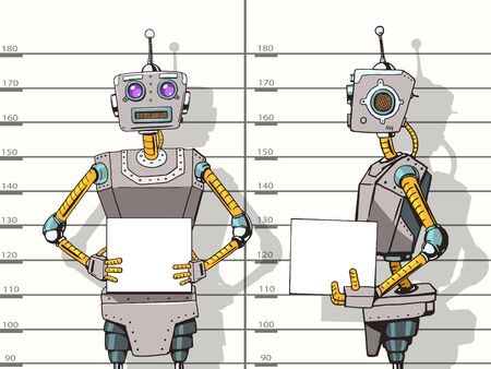 Robot arrêté photo pop police style vecteur art illustration. Robot illustration. Comic imitation de style livre. Vintage robot de style rétro. illustration conceptuelle