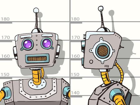 Robot arrêté photo pop police style vecteur art illustration. Robot illustration. Comic imitation de style livre. Vintage robot de style rétro. illustration conceptuelle Vecteurs