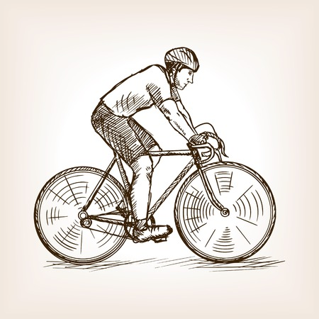 Cycle racer man sketch style vector illustration. Old hand drawn engraving imitation. Cycle racing competition. Vintage cycle racer