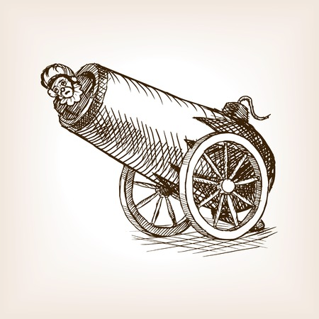 Circus human cannon sketch style vector illustration. Old hand drawn engraving imitation. Cannon with human on circus