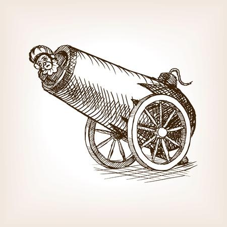 ilustración del vector del estilo del bosquejo de cañón humana circo. Vieja mano dibuja la imitación de grabado. Cañón con el circo humana Ilustración de vector