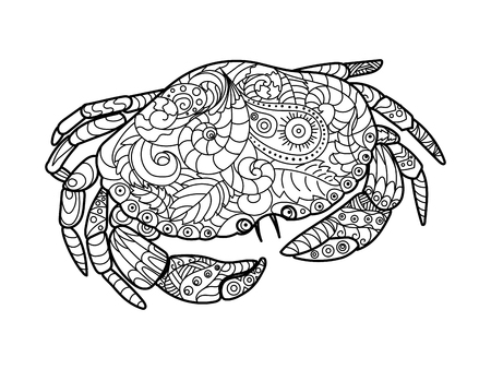 Crab sea animal coloring book for adults vector illustration. Anti-stress coloring for adult. Crab sea animal zentangle style. Black and white lines. Lace pattern Illustration