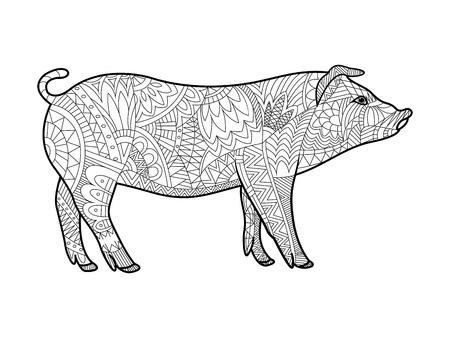 Piggy animaux livre de coloriage pour les adultes illustration vectorielle. Anti-stress coloration pour les adultes. Piggy animal de ferme style zentangle. Les lignes noires et blanches. motif de dentelle Illustration