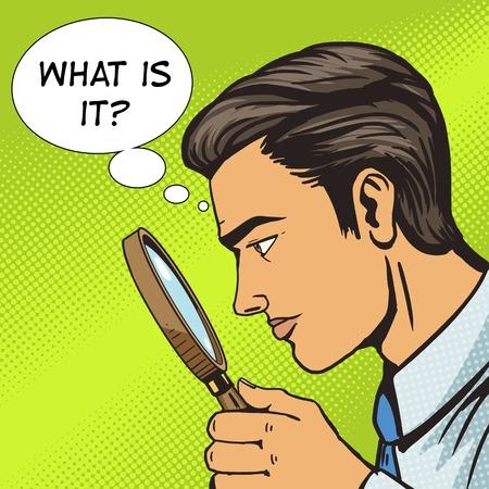 Man looking through magnifying glass pop art vector illustration. Human illustration. Comic book style imitation. Vintage retro style. Conceptual illustration