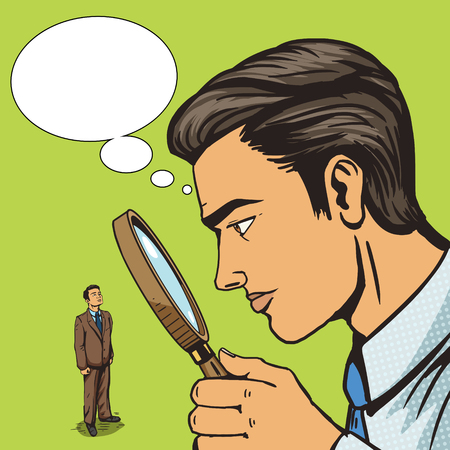 subordinate: Man looking through magnifying glass on man pop art vector illustration. Big brother spy. Human illustration. Comic book style imitation. Vintage retro style. Conceptual illustration