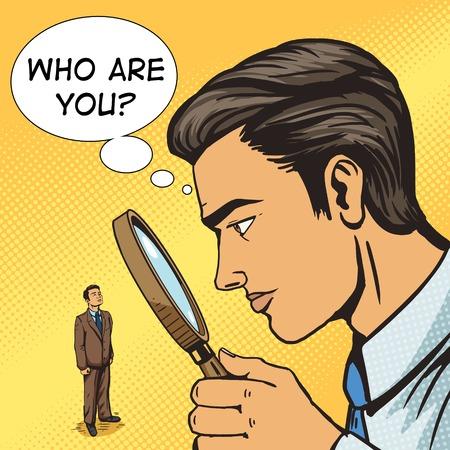 Man kijkt door een vergrootglas op man pop-art vector illustratie. Grote broer spion. Illustratie menselijk. Comic book stijl imitatie. Vintage retro stijl. conceptuele illustratie