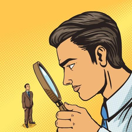 L'homme en regardant à travers la loupe sur l'homme pop art vecteur illustration. Big espion frère. illustration humaine. Comic imitation de style livre. Vintage style rétro. illustration conceptuelle