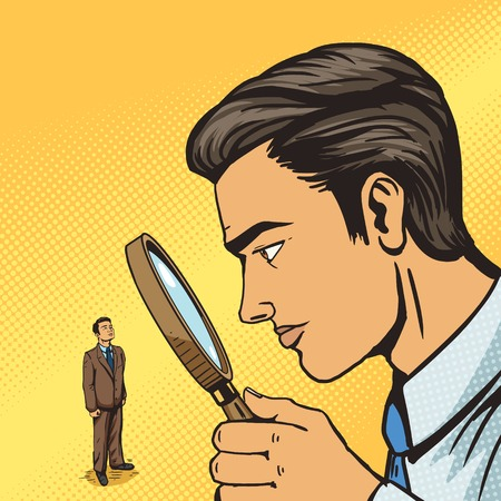 Man looking through magnifying glass on man pop art vector illustration. Big brother spy. Human illustration. Comic book style imitation. Vintage retro style. Conceptual illustration