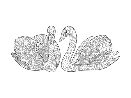 Swans birds coloring book for adults vector illustration. Anti-stress coloring for adult. Zentangle style. Black and white lines. Lace pattern