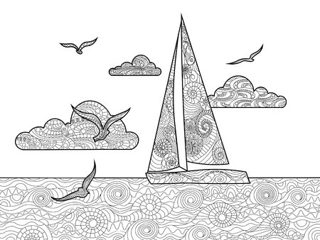 sail: Sailboat coloring book for adults vector illustration. Anti-stress coloring for adult. Zentangle style. Black and white lines. Lace pattern