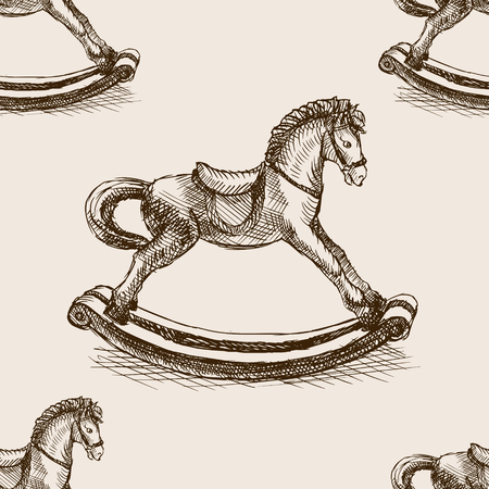 wooden horse: Vintage rocking horse toy sketch style vector illustration. Old hand drawn engraving imitation. Vintage object illustration