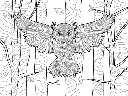 Owl in the forest bird coloring book for adults vector illustration. Anti-stress coloring for adult. Zentangle style. Black and white lines. Lace pattern