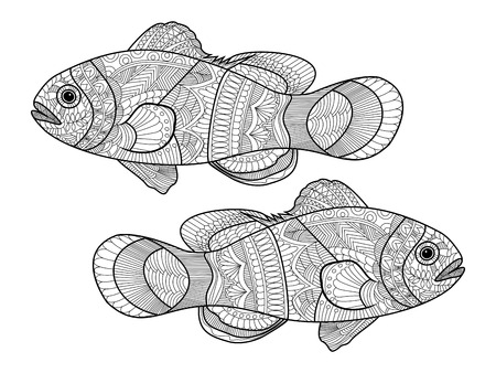 Clown Fish Coloring Book For Adults Vector Illustration Anti Stress Adult
