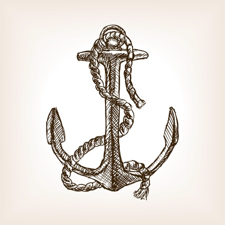 Anchor and rope sketch style vector illustration. Old hand drawn engraving imitation. Anchor and rope.