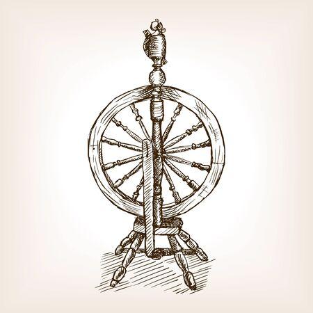 spinning: Spinning wheel sketch style vector illustration. Old hand drawn engraving imitation. Spinning wheel.