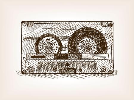 audio cassette: Audio cassette sketch style vector illustration. Old hand drawn engraving imitation. Audio cassette.