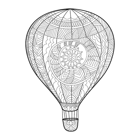 aeronautic: Aeronautic balloon coloring book for adults vector illustration. Anti-stress coloring for adult. style. Black and white lines. Lace pattern