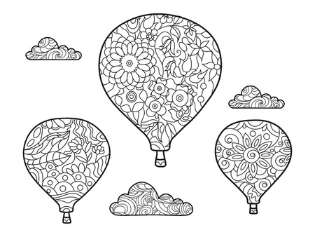 Aeronautic balloon coloring book for adults vector illustration. Anti-stress coloring for adult.   Black and white lines. Lace pattern