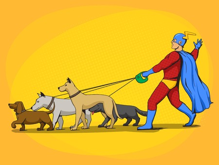 rescue dog: Superhero man and dogs cartoon pop art vector illustration. Human illustration. Comic book style imitation. Vintage retro style. Conceptual illustration