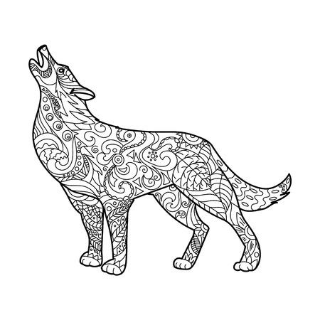 Wolf kleurboek voor volwassenen vector illustratie. Anti-stress-kleuring voor volwassen. Zwart en witte lijnen. kantpatroon