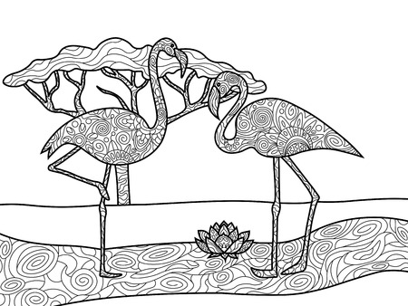Flamingo Bird Coloring Book For Adults Vector Illustration. Anti ...