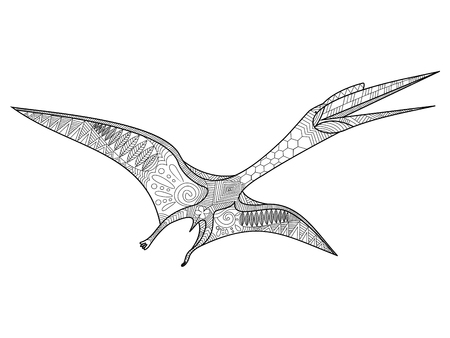 pterosaur: Pterosaur coloring book for adults vector illustration. Anti-stress coloring for adult.   Black and white lines. Lace pattern