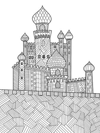Medieval castle coloring book for adults vector illustration. Anti-stress coloring for adult. Zentangle style. Black and white lines. Lace pattern