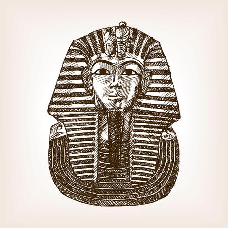 Pharaoh sarcophagus sketch style vector illustration. Old hand drawn engraving imitation. Pharaoh sarcophagus.