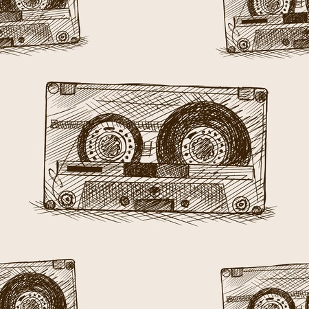 audio cassette: Audio cassette sketch style seamless pattern vector illustration. Old hand drawn engraving imitation. Audio cassette. Illustration