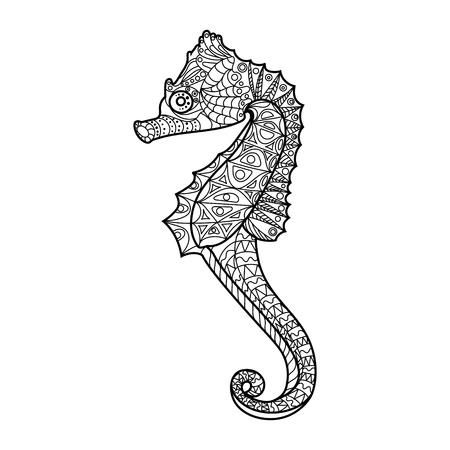caballo de mar: caballito de mar para colorear para los adultos ilustraci�n vectorial. Antiestr�s colorear para adultos. l�neas blancas y negras. modelo del cord�n Vectores