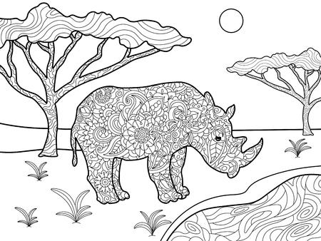 Rinoceronte Ilustración Vectorial Libro Para Colorear. Antiestrés ...